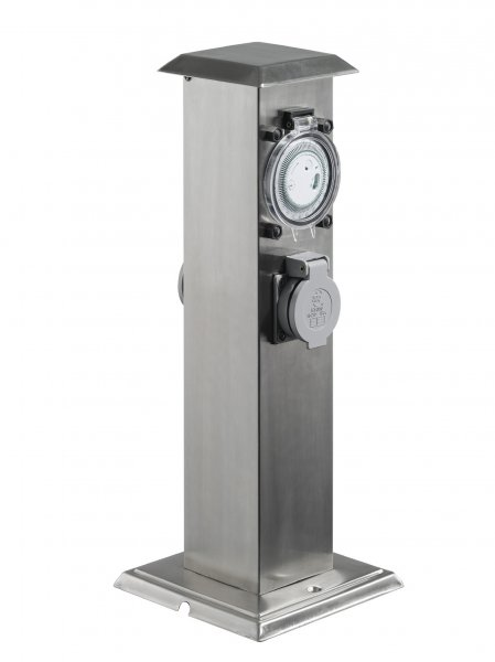 Energiestation 2 Steckdosen Zeitschaltuhr (Edelstahl)